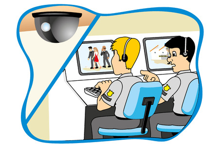 coast guard: Seguridad profesional mirando a trav�s de sistema de vigilancia de la c�mara, ideal para material de formaci�n e institucional