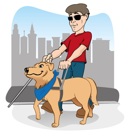 cane: Illustration is led by disabled person walking a guide dog.