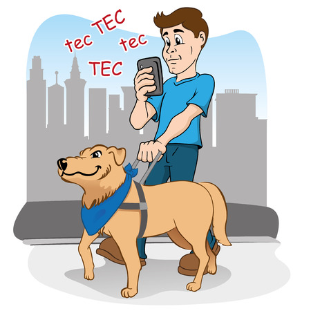 blinded: Person walking listlessly practically blinded by smartphone, and being guided by the blind dog as a visually impaired
