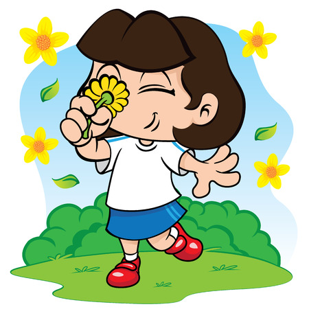 Illustration representing a student girl smelling flowers in the park