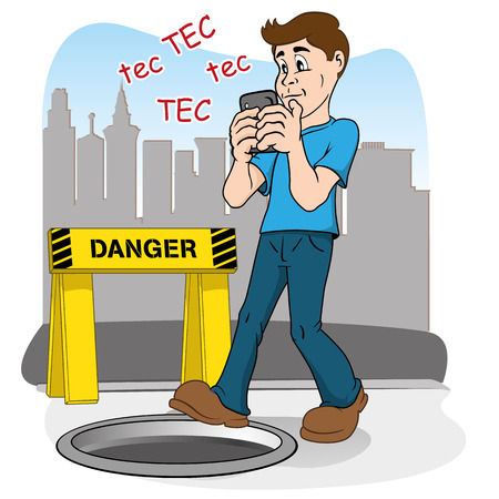 Inattentive person walking by smart phone. running the risk of falling in the hole Ilustração