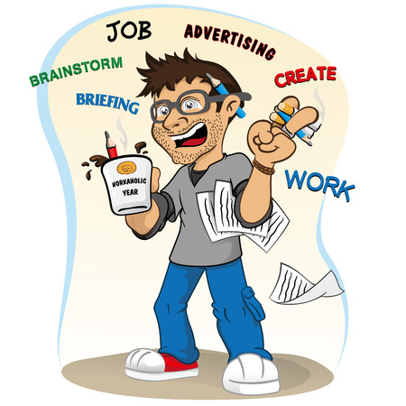 stressed people: Illustration representing a professional mascot workaholic stressed and accelerated