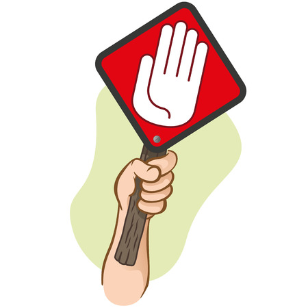 Character hand holding a signpost stop. Ideal for informational and institutional 일러스트