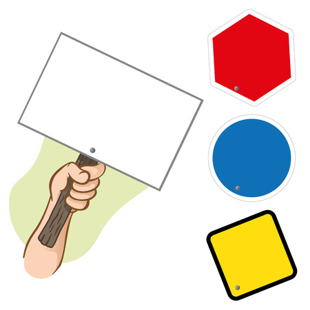 informational: Character hand holding a signpost. Ideal for informational and institutional