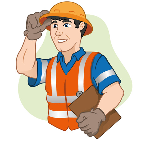 foreman: Character workers with safety equipment at work. Ideal for informational cultural events, tourism and institutional Illustration