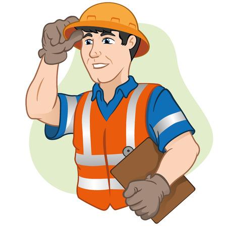 accidente trabajo: Trabajadores de caracteres con el equipo de seguridad en el trabajo. Ideal para eventos informativos culturales, turismo e institucional Vectores