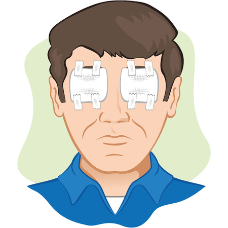 gauze: Gauze dressing with person in the eye irritated or injured, the front face. Ideal for training materials, catalogs and institutional