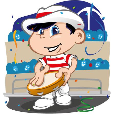 pandero: Carácter niño bailando samba en el carnaval brasileño con pandereta. Ideal para eventos informativos culturales, turismo e institucional
