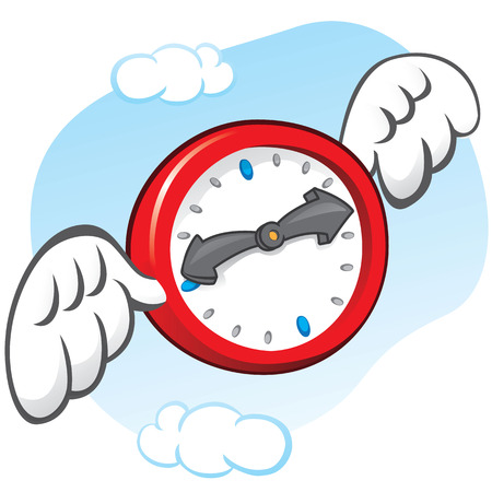 institutional: Illustration is the saying that time flies, represented by a clock with wings. Can be used in ads and institutional Illustration