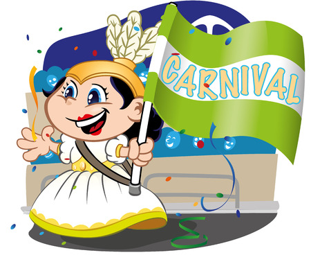 school carnival: Illustration Carnival parade, child door samba school flag. Ideal for cultural material and institutional