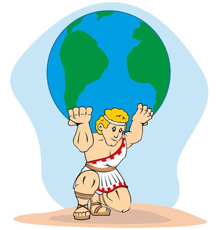 greek gods: Mythology Titan Atlas carrying the world on his back