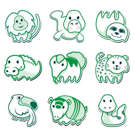 oso perezoso: Iconos de animales, para la señalización. Ideal para material editorial e institucional