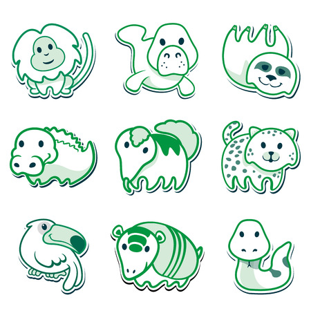 manatee: icons of animals, for signaling. Ideal for editorial material and institutional