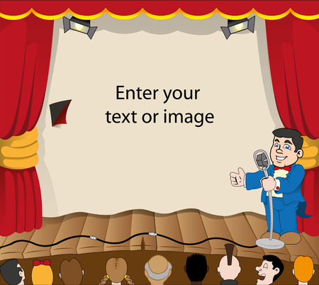 Illustration depicting scenery of a stage or theater show with presenter and audience. Suitable for educational and institutional materials Çizim