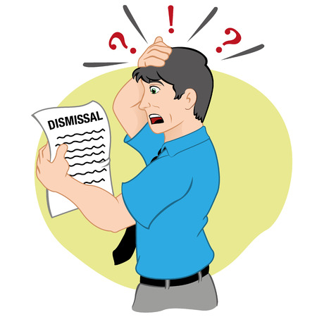 scare: Professional character illustration receiving a statement of resignation. Ideal for training and institutional information.