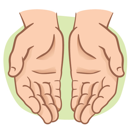 index finger: Character pair of hands with exposed palm, request or donation. Ideal for informational and institutional Illustration