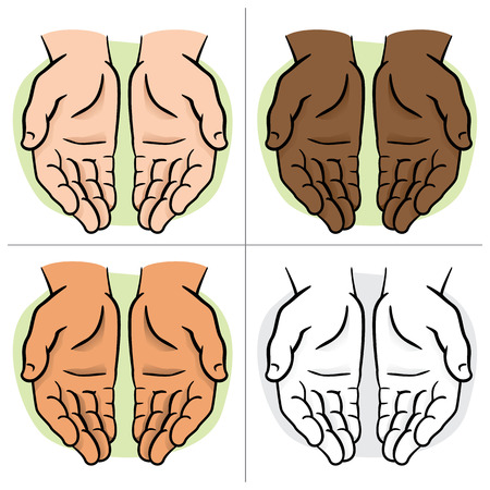 institutional: Character pair of hands with exposed palm, request or donation. Ideal for informational and institutional Illustration