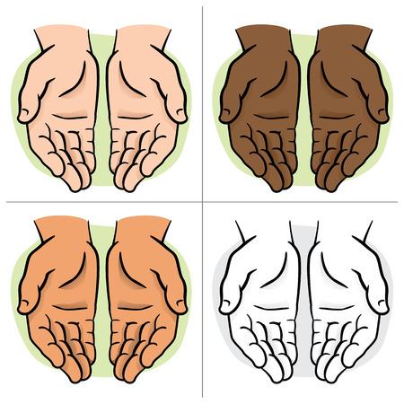 manos abiertas: Par de caracteres de la mano con la palma expuesta, solicitud o donación. Ideal para informativa e institucional Vectores