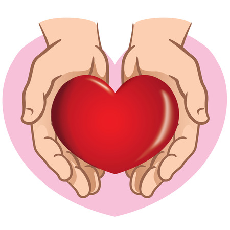 informational: Character pair of hands holding a heart. Ideal for informational and institutional. Illustration