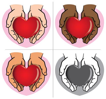 Carácter par de manos que sostienen un corazón, etnias. Ideal para informativa e institucional.
