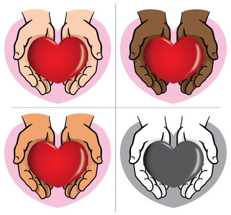 informational: Character pair of hands holding a heart, ethnicities. Ideal for informational and institutional.