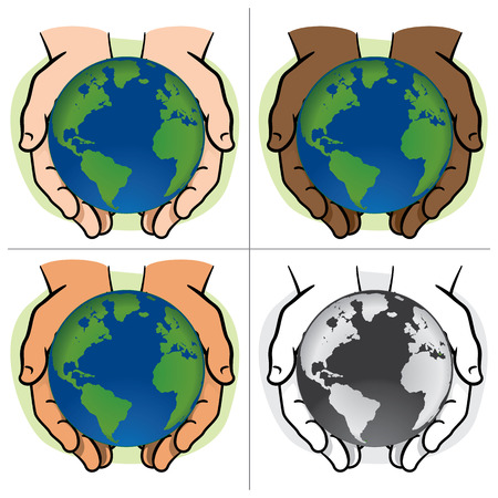Character pair of hands holding the planet Earth, ethnicities. Ideal for informational and institutional. Illustration