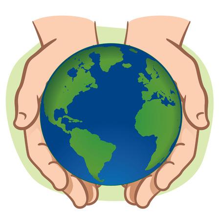 Carácter par de manos que sostienen el planeta Tierra. Ideal para informativa e institucional.