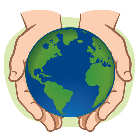 end of the world: Character pair of hands holding the planet Earth. Ideal for informational and institutional.