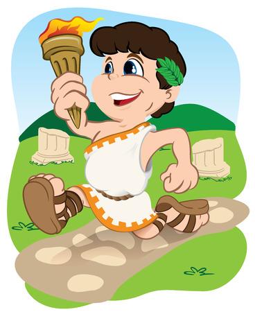 educacion fisica: Ilustración representa un niño griego llevar la antorcha, los deportes, los juegos o la competencia, ideal para la educación, el deporte y materiales institucionales