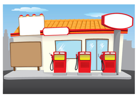 pollutants: Illustration representing Scenery of a gas station with gas station, ideal for institutional and commercial materials