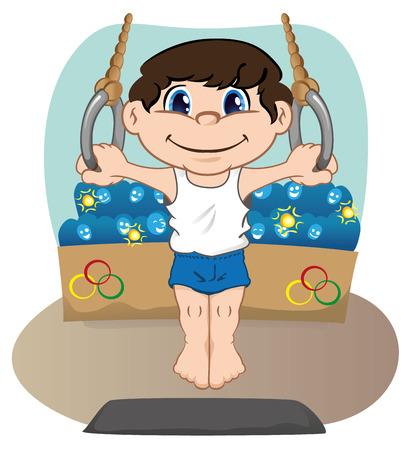 Ilustración representa un atleta hijo haciendo gimnasia artística en los anillos Foto de archivo - 38281345