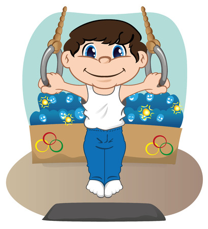 Illustration represents a child athlete doing gymnastics artistic