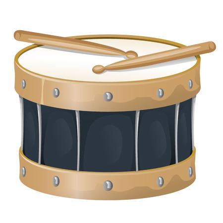 bongo drum: Illustration is an object musical instrument, drum and drumsticks, ideal for educational support materials and institutional