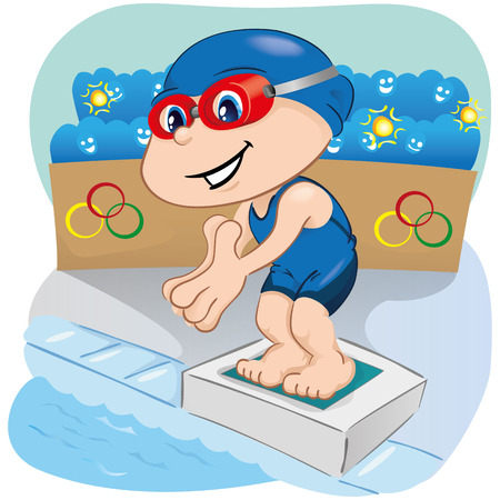 institutional: Illustration is a swimming athlete child preparing to enter the pool, sports, games or competition, ideal for educational, sports and institutional materials