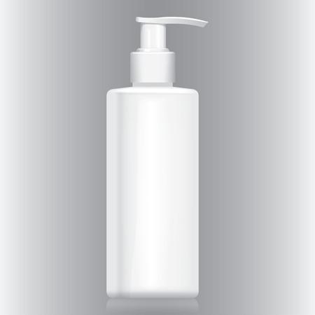 cosmeticos: Botella Ilustraci�n con crema blanca bomba v�lvula, gel, l�quido, cosm�ticos. Conveniente para los cosm�ticos y materiales institucionales. Vectores