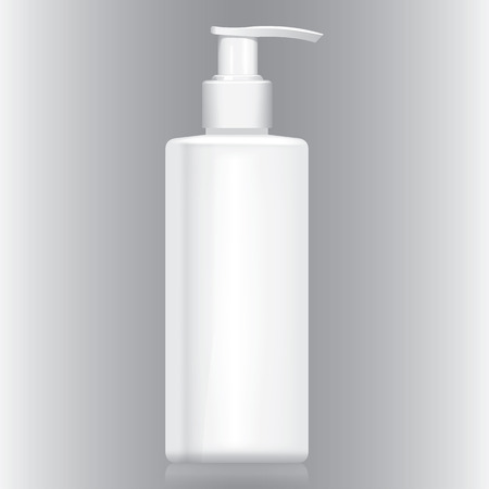 cosmetics: Illustration bottle with white pump valve cream, gel, liquid, cosmetics. Suitable for cosmetics and institutional materials. Illustration