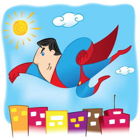 educational materials: Illustration represents a superhero Person flying in the air over the city. Ideal for educational and institutional materials Illustration