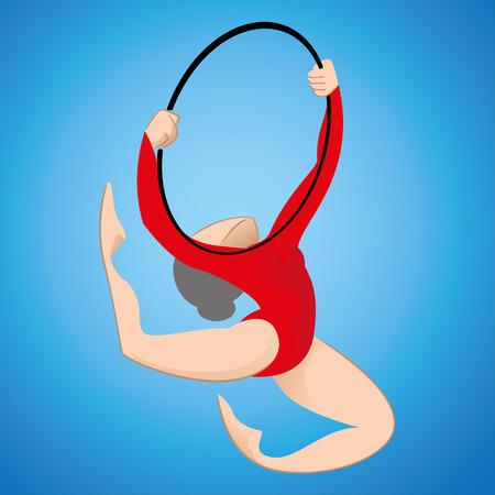 Illustrazione è una persona ginnasta partecipa nella ginnastica artistica modalità con cerchio. Ideale per materiali educativi dello sport e istituzionale