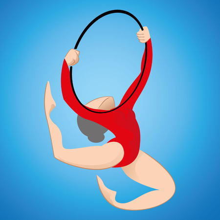 Illustration is a gymnast person participating in artistic gymnastics modality with hoop. Ideal for educational materials sports and institutional