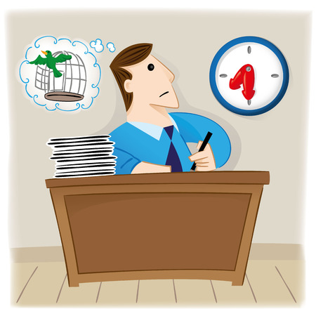 black hair blue eyes: Illustration is a person executive employee looking at the clock waiting for time to go free as a bird. Ideal for educational and institutional materials Illustration