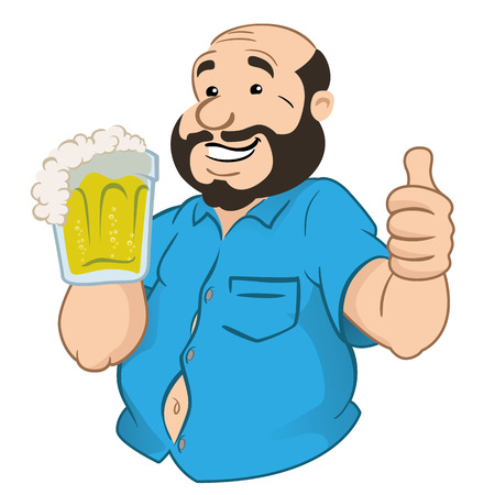 black hair blue eyes: Illustration Represents a person fat and bald man with a beer mug. Ideal for promotional and institutional materials