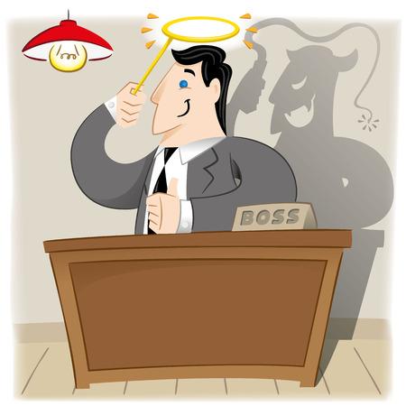 patron: La ilustración es un jefe ejecutivo persona con apariencia ángel, pero en la verdad y un demonio. Materiales ideales para coathing administrativa e institucional