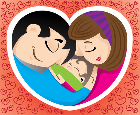 emotional love: Illustration icon is representing love and family and a heart. Ideal for promotional and institutional materials Illustration