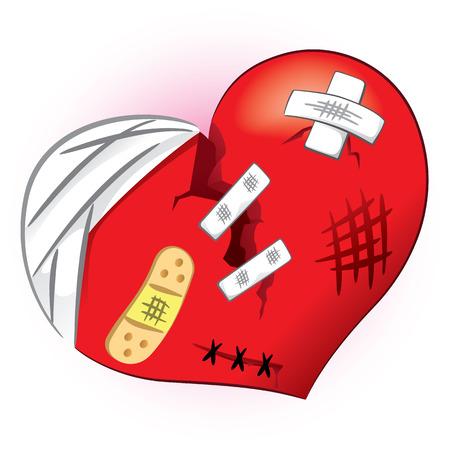 dessin coeur: Icône ou symbole d'un c?ur brisé et meurtri. Idéal informatifs et institutionnelles liées à l'amour ou un ami