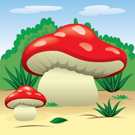 Illustration is a landscape of nature with mushrooms in the woods. Ideal for children39s books and institutional materials