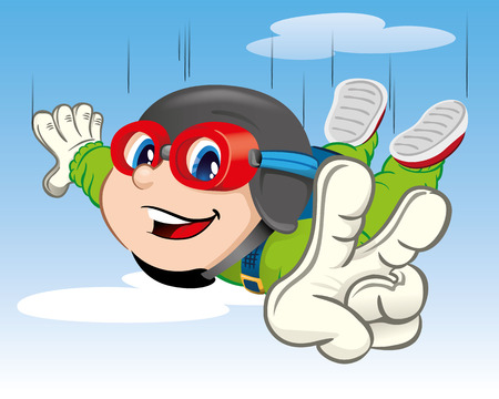 parachute jump: Illustration is a child boy jumping with a parachute. Ideal for materials about extreme sports and institutional