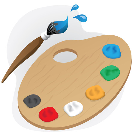 Illustration is a painting object paint material palette and brush. Ideal for children39s books and institutional materials Stock Illustratie