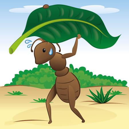ant leaf: Ilustración que representa el paisaje de la naturaleza hormiga llevando una hoja. Ideal para los libros children39s y materiales institucionales