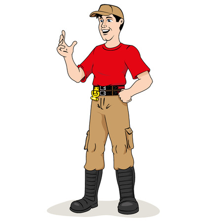 fire department: Illustration is a professional firefighter person. Ideal for informational and institutional materials Illustration