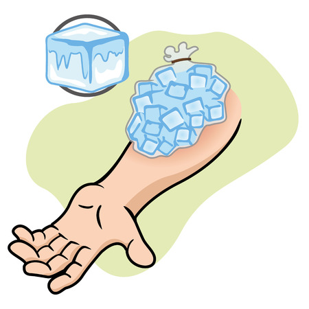 compress: Illustration representing First Aid with ice compress on the injured arm